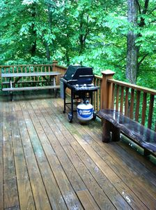 The deck with gas grill and picnic table makes for fun meal times!