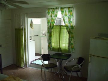Inside dining area small fridge and entrance to bathroom on the left