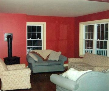 Our family room - notice the gas stove!