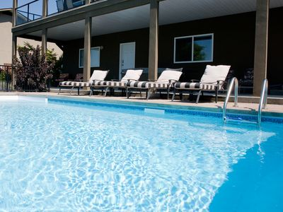 Penticton house rental - Refreshing salt water pool and hot-tub