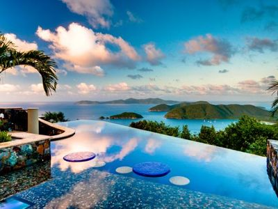 Cinnamon Bay villa rental - Infinity Pool with Sun Shelf, Cocktail Tables & views to Cinnamon Bay Beaches