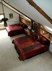 Gilford house photo - Loft view from Cupola Stairway w/ 2 king beds walk-in closet