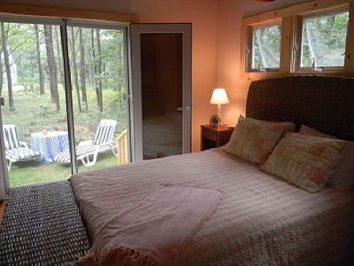 Oak Bluffs house rental - first floor bedroom; french doors to side yard;