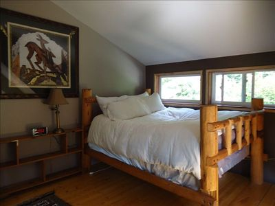 master bed with view of  Nason Ridge
