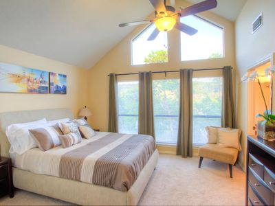 Master bedroom with vaulted ceilings, also has full walk-in closet