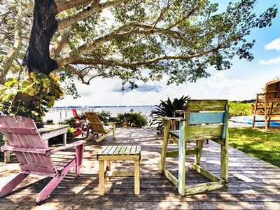 Bradenton estate rental - Waterfront deck for manatee, bird and dolphin watching