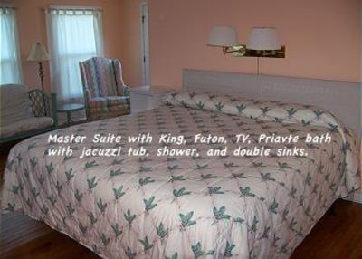 A quiet king room has a futon and TV. The back door opens to a sunning porch.
