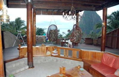 View of Piton from Swinging Chairs on Balcony