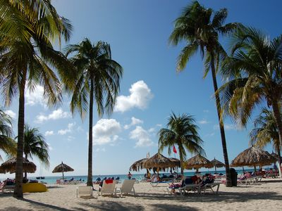 Aruba house rental - average beach day across street from house marriott