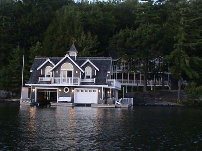 Boathouse & Main Cottage View at Dusk