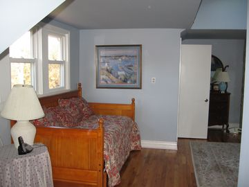 Trundle bed which opens to two twins in upstairs great room