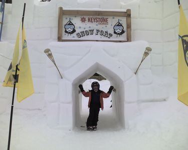 Play at the top of the mountain in the worlds highest snow fort (winter only)