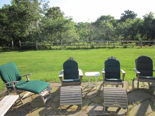 Edgartown cottage photo - Back patio overlooking Sheriff's Meadow