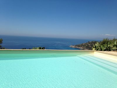 Detached private sea view villa sunny aspect and large pool - sleeps 8