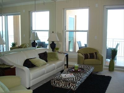 Living Room with Ocean View - Great views of Sunrise!  Slider to patio.