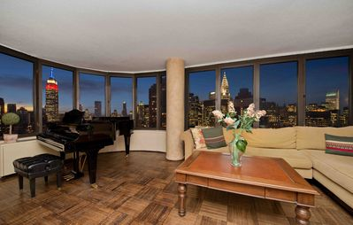 View of Empire State and Chrysler Buildings from living room.
