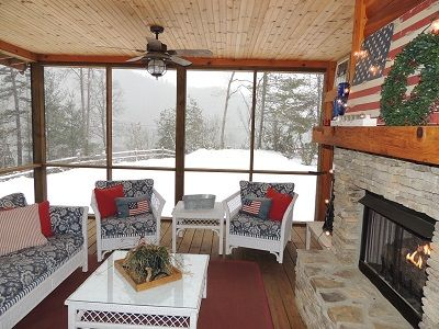 Can't keep off the porch even in winter!