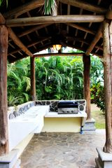 Playa Hermosa house photo - Pool side bbq rancho with fan