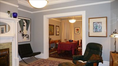 San Francisco condo rental - Hand Carved Table, Chairs, Leather Queen-Size Sofabed YourHomeInSanFrancisco.com