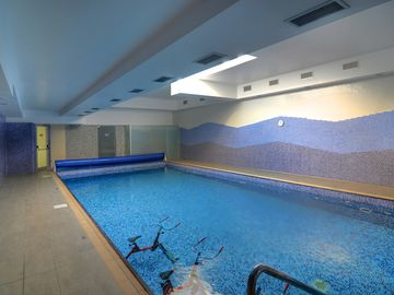 The inviting indoor swimming pool