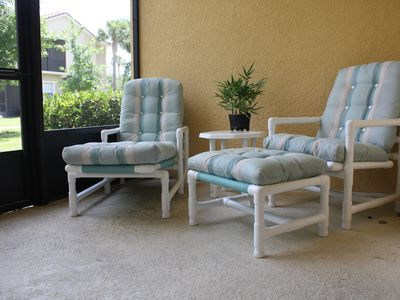"Relax on the patio in super comfy ""Palm Casual"" furniture."