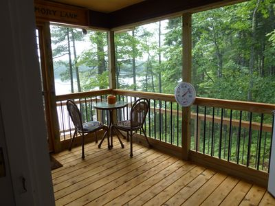 Branch Lake cabin rental - Screened-in side porch