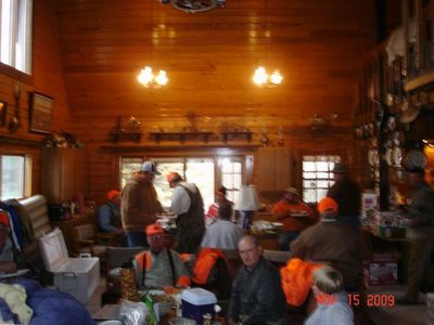 Interior of the cabin in the great room with 30' ceiling, memories are made here