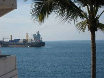 Cargo ship in front of the condo