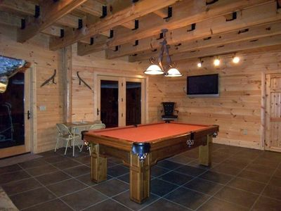 Lake Nantahala house rental - Game Room on Lower Level w/Pool Table and Flat Screen TV