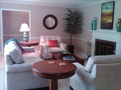 Asheville house rental - Living Room--------tons of natural light in here and a wood burning fireplace