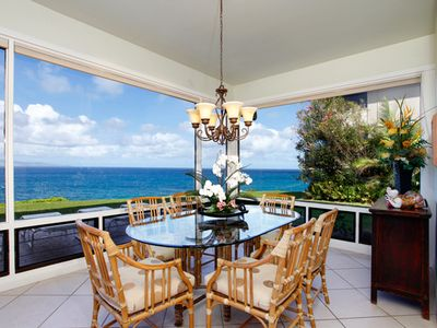 Gorgeous dining room with McGuire table and chairs