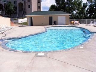 Lake Ozark condo photo - The Saltwater Pool with the condo in the background - so close, so convenient!