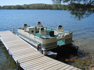 Fifty Lakes cabin photo - Northwoods Pontoon Boat, available to rent $50/Day or $200/Week with 1 tank gas.
