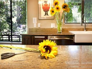 Healdsburg estate photo - Kitchen island with views leading to pool/jacuzzi/bocce area.