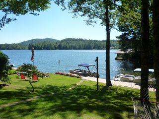 Lake Toxaway cottage photo - Level Lot, fire pit, double private dock, with wide vistas