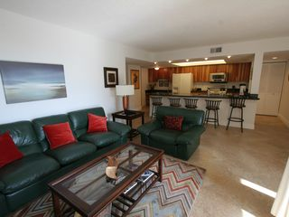 Delray Beach apartment photo - Large living room with leather furniture