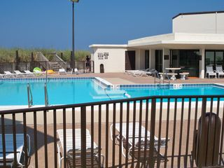 Sugar Beach townhome photo - Pool and Clubhouse. The ocean is right beyond the pool.