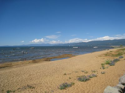 Tahoe Keys private beach, late Fall.