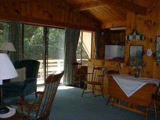 Somesville chalet photo - Upper living area, Fully equipped kitchen, dining area, upper deck