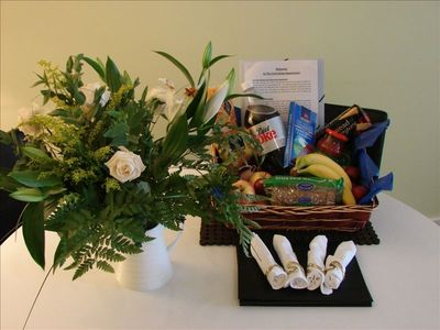 Our generous Welcome Basket of Groceries always ready for you...