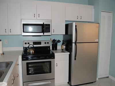 Kitchen with all new stainless steel appliances