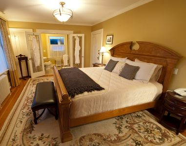 Bedroom #1 (Avalon) with ensuite bathroom, french doors, heated floors