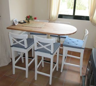 Table with high chairs