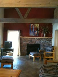 Wilson Lake cabin rental - Great room with vaulted ceilings and a wood burning fireplace