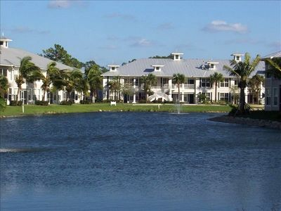 Our spacious condo overlooking the pond
