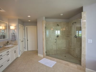 Shower and Double Sink in Master Bathroom