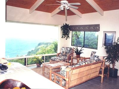 Living Room of CliffhouseHawaii, with picturesque window of Hamakua Coast