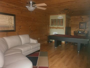 New leather sectional and pub table for relaxing with family and friends