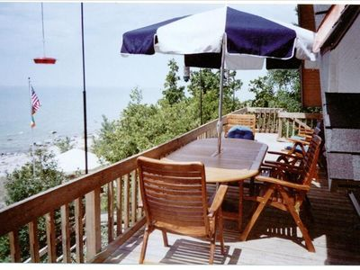 Upper Deck with Outdoor Dining Area overlooking Lake Michigan Beach