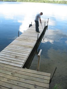 We have a new dock with a small two step ladder.